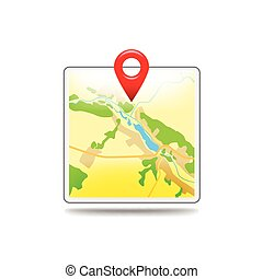 Map icon isolated on white vector