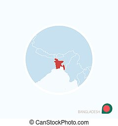 Map icon of Bangladesh. Blue map of South Asia with highlighted Bangladesh in red color.