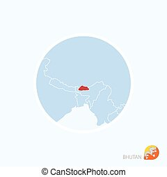 Map icon of Bhutan. Blue map of South Asia with highlighted Bhutan in red color.