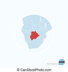 Map icon of Botswana. Blue map of Africa with highlighted Botswana in red color.