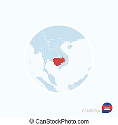 Map icon of Cambodia. Blue map of Asia with highlighted Cambodia in red color.