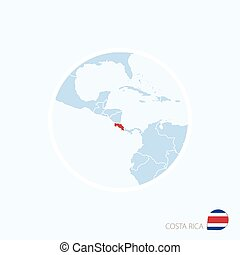 Map icon of Costa Rica. Blue map of Central America with highlighted Costa Rica in red color.