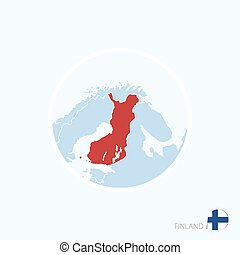 Map icon of Finland. Blue map of Europe with highlighted Finland in red color.