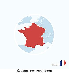 Map icon of France. Blue map of Europe with highlighted France in red color.