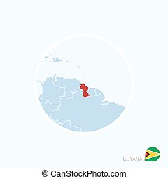 Map icon of Guyana. Blue map of South America with highlighted Guyana in red color.