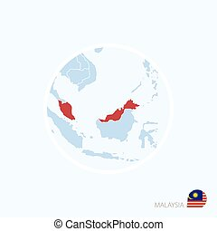 Map icon of Malaysia. Blue map of Asia with highlighted Malaysia in red color.