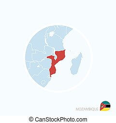 Map icon of Mozambique. Blue map of Africa with highlighted Mozambique in red color.