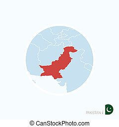Map icon of Pakistan. Blue map of South Asia with highlighted Pakistan in red color.