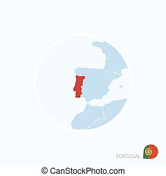 Map icon of Portugal. Blue map of Europe with highlighted Portugal in red color.