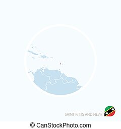 Map icon of Saint Kitts and Nevis. Blue map of America with highlighted Saint Kitts and Nevis in red color.