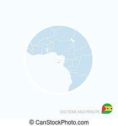 Map icon of Sao Tome and Principe. Blue map of Central Africa with highlighted Sao Tome and Principe in red color.
