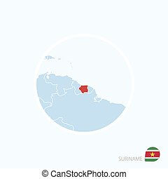 Map icon of Suriname. Blue map of South America with highlighted Suriname in red color.