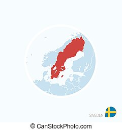 Map icon of Sweden. Blue map of Europe with highlighted Sweden in red color.