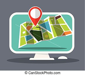 Map Icon on Computer Screen. Vector.