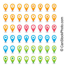 Map icon pointer set - An solated map icon pointer set