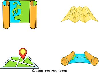 Map icon set, cartoon style