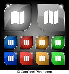 map icon sign. Set of ten colorful buttons with glare. Vector