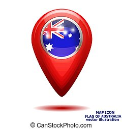 Map icon with flag of Australia. Vector illustration.