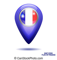 Map icon with flag of France. Illustration.