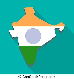 Map icon with the India flag