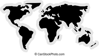 Map Icon - World map icon graphic.