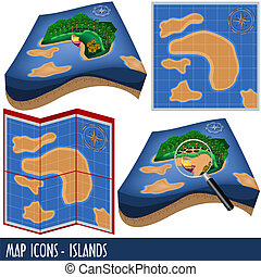 Map Icons - Islands - Illustration of four map icons, 3D and...