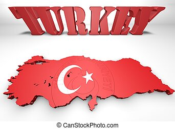 map illustration of Turkey with flag