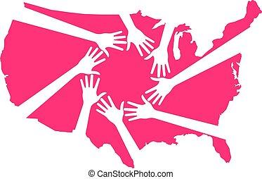 map., illustrazione, porzione, americano, vettore, mani