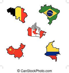 Map in colors of Belgium, Brazil, Canada, China, Colombia