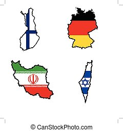 Map in colors of Finland,Germany,Iran,Iraq
