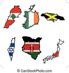 Map in colors of Ireland, Israel, Jamaica, Japan, Kenya, Lebanon