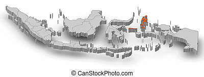 Map - Indonesia, North Maluku - 3D-Illustration - Map of ...