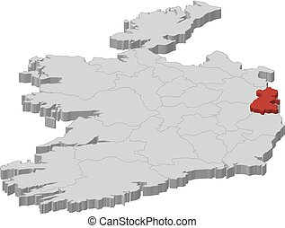 Map - Ireland, Dublin - 3D-Illustration - Map of Ireland as...