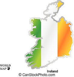 Map Ireland .Map with flag.
