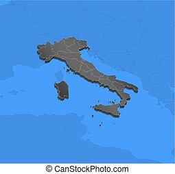 Map - Italy - 3D-Illustration