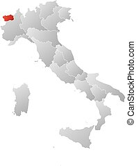 Map - Italy, Aosta Valley - Map of Italy with the provinces,...