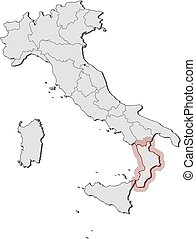 Calabria with regions, italy. Vector map of calabria with regions ...