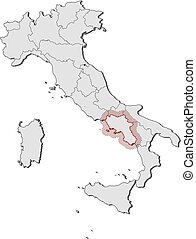 Campania with regions, italy. Vector map of campania with regions ...