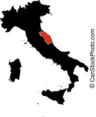 Map - Italy, Marche - Map of Italy in black, Marche is...