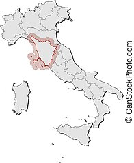 Map tuscany italy Map of tuscany a province of italy vector