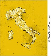 Map Italy vintage yellow - Vintage italy map with regions...