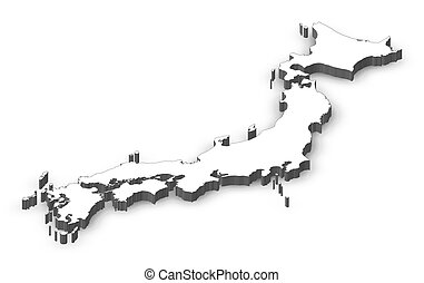Stock Photographs Of Map Japan Osaka DIllustration Map Of - Japan map 3d