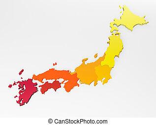 Map Japan 3d map Realistic.3d rendering