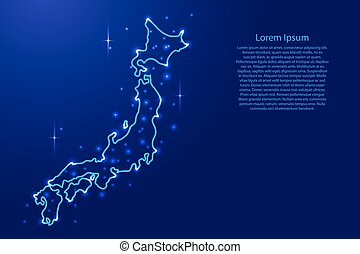 Map Japan from the contours network blue, luminous space stars of vector illustration