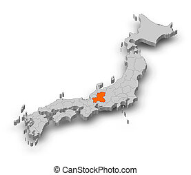 Map - Japan, Gifu - 3D-Illustration