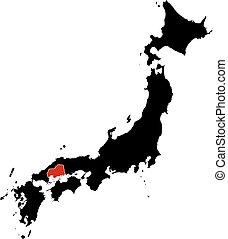 Map - Japan, Hiroshima - Map of Japan in black, Hiroshima is...