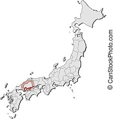 Map - Japan, Hiroshima - Map of Japan with the provinces,...