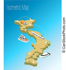 Map Japan isometric concept.