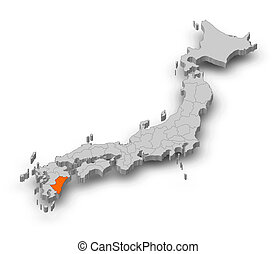Map - Japan, Miyazaki - 3D-Illustration