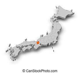 Map - Japan, Shiga - 3D-Illustration